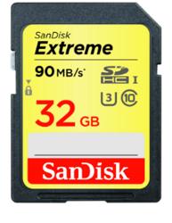 SanDisk Extreme SDHC 32 GB 90MB/s Class 10 UHS-I U3